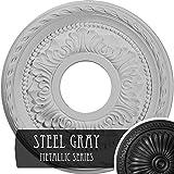 Ekena Millwork CM11PMSGS 11-3/8'' x 3-5/8'' x 7/8'' Palmetto Ceiling Medallion, Steel Gray