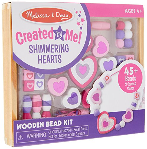 Shimmering Heart (Melissa & Doug Shimmering Hearts Wooden Bead Set: 45 Beads and 3 Laces for Jewelry-Making)