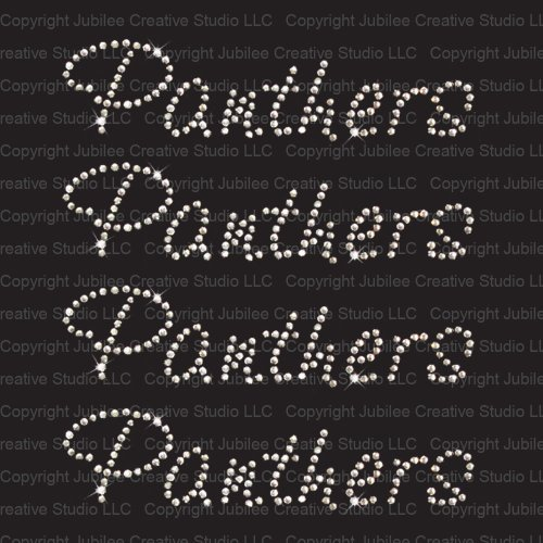 Set of 4 Panthers Iron On Rhinestone Crystal T-shirt Transfer by Jubilee (Panther Rhinestone)