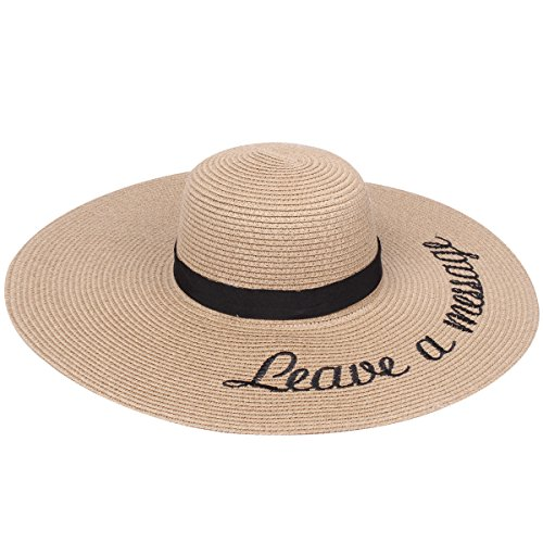 Embroidered Leave a Message Sun Floppy Hat, Khaki