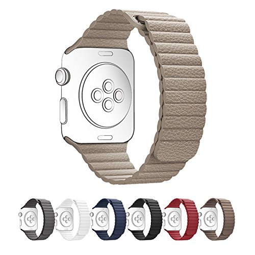 Apple Watch Band,SUNKONG® 42mm Beige Leather Loop Strap With Strong Magnetic Closure For All Apple Watch Sport And Edition (Beige) (Beige Leather Watch)