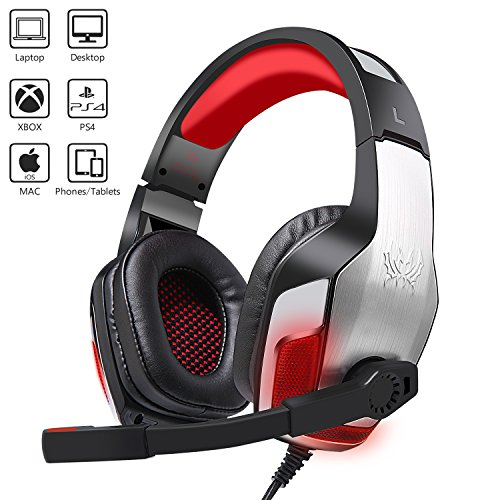 Gaming Headset G-5300 With Mic for Xbox One, PS4, PC, Balleen.E Noise Cancelling Over Ear Headphones with Microphone, LED Light Bass Surround Soft Memory Earmuffs for Nintendo Switch