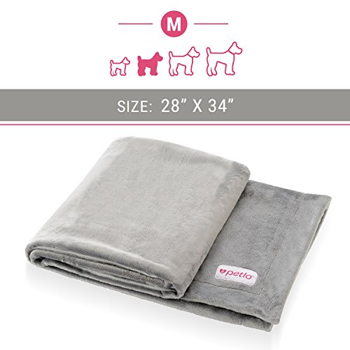 """Petlo Soft Fleece Dog and Pet Blanket - Extra Comfortable Reversible Velour and Short Plush Fabric Protects Furniture and Beds - Machine Washable and Pill Resistant - 28"""" X 34"""" - By"""