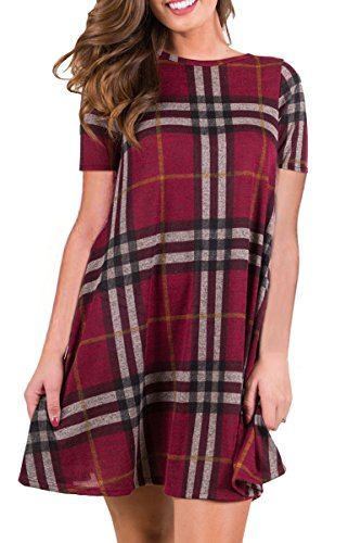 Boosouly Womens Plaid Swing Tunic Dress Casual Loose Short Sleeve T Shirt Dress With Pockets Wine L