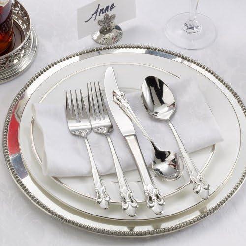 Ginkgo International Fleur de Lis 20-Piece Stainless Steel Flatware Place Setting, Service for 4