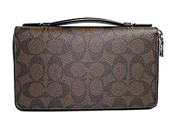 Coach Men's Double Zip Travel Organizer in Embossed Signature Canvas