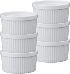HIC Souffles, Porcelain, 4.5-Inch, 14-Ounce Capacity, Set of 6
