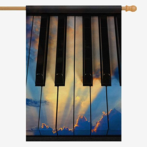(INTERESTPRINT Musical Theme Sunset Sky with Clouds on Piano Keys House Flag Decorative for Garden and Home Decorations, Oxford Cloth House Banner 28 x 40 Inches (Without)