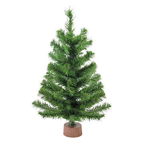 Northlight Mini Pine Artificial Christmas Tree in Wood Base, Brown