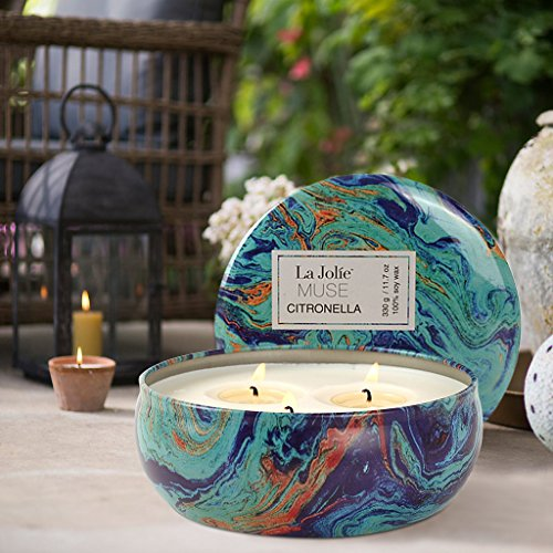 LA JOLIE MUSE Citronella Candles Set 3, 12 oz Each Scented Candle Natural Soy Wax, Outdoor and Indoor by LA JOLIE MUSE (Image #4)