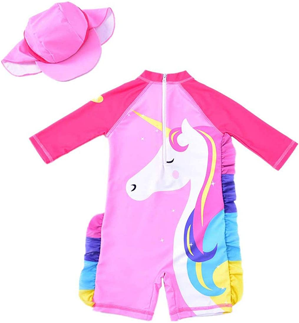 Baby Toddler Girls Unicorn Swimsuits One Piece Swimwear Bathing Suits Rash Guard UPF 50+