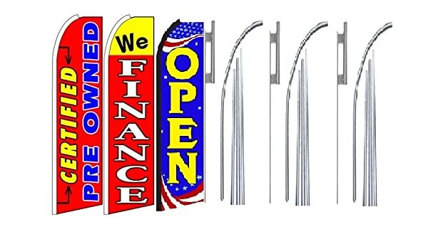 we finance Open King Swooper Feather Flag Sign Kit With Pole and Ground Spike certified pre owned Pack of 3