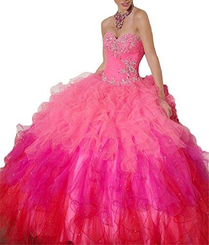 Cristal De Perles Douce Robe De Quinceanera Robe 16 Boule Rose Chaud Aisha Femmes