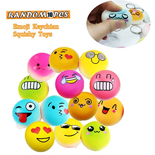 JACHAM Emoji Keychain, Mini Soft Mochi Squishy Toys for Party Favors, 10PCS Random Kawaii Slow Rising Stress Relieve Fidget Keychain Decoration Toys for for Kids and Adults Gift.
