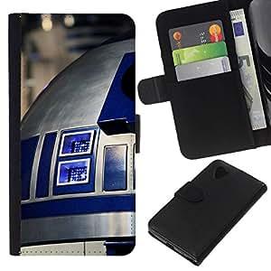 // PHONE CASE GIFT // Moda Estuche Funda de Cuero Billetera Tarjeta de crédito dinero bolsa Cubierta de proteccion Caso LG Nexus 5 D820 D821 / R2D2 /