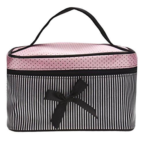 Cosmetic Bags, Toraway Square Bow Stripe Cosmetic Makeup Bags (Satin Makeup Bag)