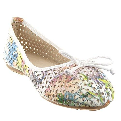 Sopily - Scarpe da Moda ballerina alla caviglia donna Perforato nodo Tacco a blocco 1 CM - Bianco