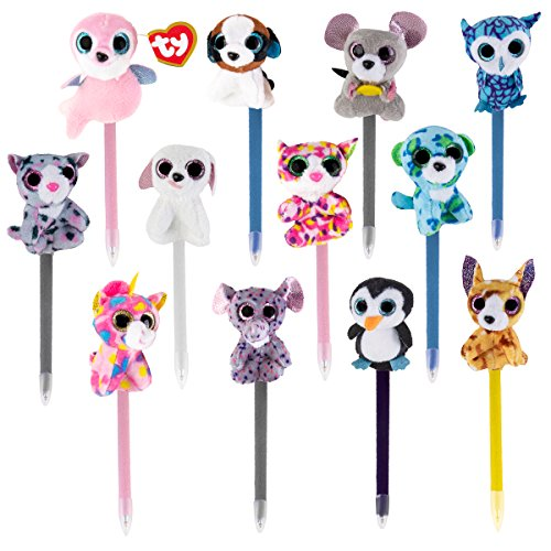 TY Beanie Boos Collectible Plush Pens, Third Edition, Black Ink, Set of 12 Assorted Characters -