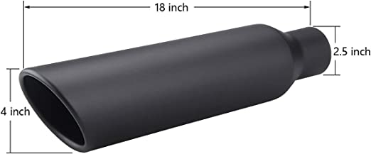 Angled 18in 3 Inlet 4 Outlet Stainless Black Weld-On Exhaust Tip 268754