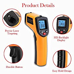 V-Resourcing Non-Contact LCD Laser Infrared Digital Temperature Gun -50~380?(-58~716?), Instant-Read Handheld IR Infrared Thermometer with Backlight