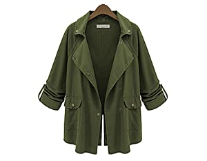 Womens Casual Waterfall Lapel Long Sleeve Open Front Cardigan Trench Coat Jacket S