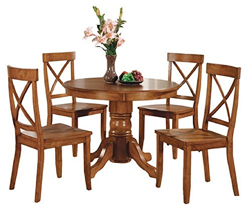 Home Styles 5 Piece Dining Set - Cottage Oak - Includes a Sturdy Pedestal Style Table and 4 Cross Back Chairs (Dining Banquette Sale Sets)