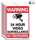 Faittoo 4-Pack Video Surveillance Sign, No Trespassing Metal Reflective Warning Sign, 14''x10'' 0.40 Aluminum Indoor Or Outdoor Use for Home Business CCTV Security Camera,UV Protected & Waterproof