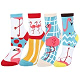 Women's Novelty Crazy Pink Flamingo Crew Socks,Funny Tropical Animal Dress Socks 4 pack