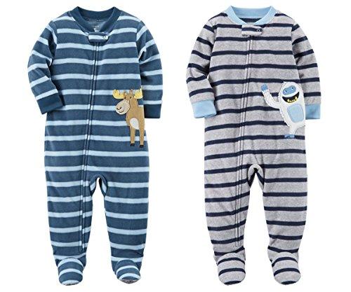 r Boy's 2 Pack Fleece Footed Pajama Sleep and Play Set (Zipper Closure - Blue Stripe Moose and Grey Striped Yetti, 12 Months) (Moose Sleeper)