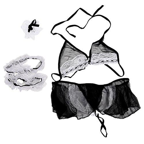SODIAL(R)Women's Sexy Lace Babydoll Lingerie Sleepwear Cosplay Costume
