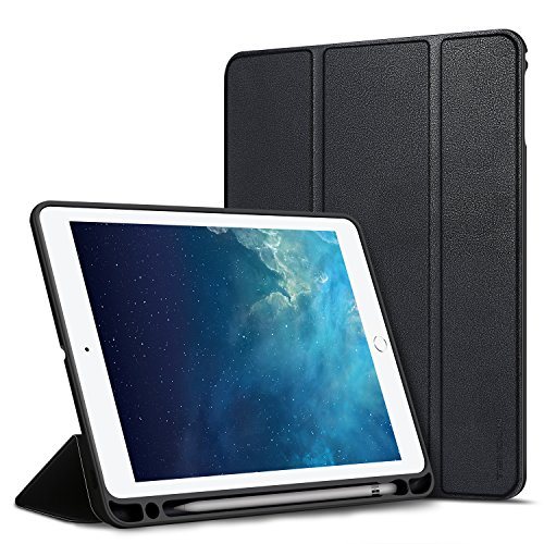 TENDLIN 9.7 iPad 2018 Case/iPad 2017 Case 360 Degree Rotating Protective Leather Cover Trifold Stand with Auto Sleep/Wake Function for iPad 9.7 Inch Black by TENDLIN