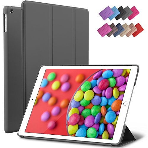 iPad Air Case, ROARTZ Gray Slim Fit Smart Rubber Coated Folio Case Hard Shell Cover Light-Weight Auto Wake/Sleep For Apple iPad Air 1st generation Model A1474/A1475/A1476 Retina Display