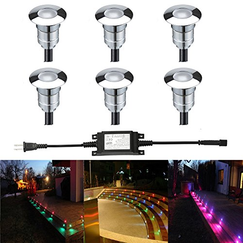 FVTLED LED Step Light Φ0.94 Low Voltage Outdoor LED Deck lights Garden Mall Yard Decoration Lamps Patio Recessed Stair Landscape Pathway In-ground RGB LED Step Lighting, Pack of 6 by FVTLED