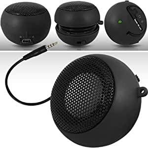 N4U ONLINE BLACK SUPER SOUND RECHARGEABLE MINI POCKET SIZE PORTABLE SPEAKER 3.5MM AUDIO JACK BUILT IN WITH USB CHARGER LEAD SUITABLE FOR LG OPTIMUS HUB
