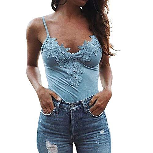Damen Ärmellos V-Ausschnitt Tank Tops T-Shirt Oberteil Trägertop Spitzen Bluse