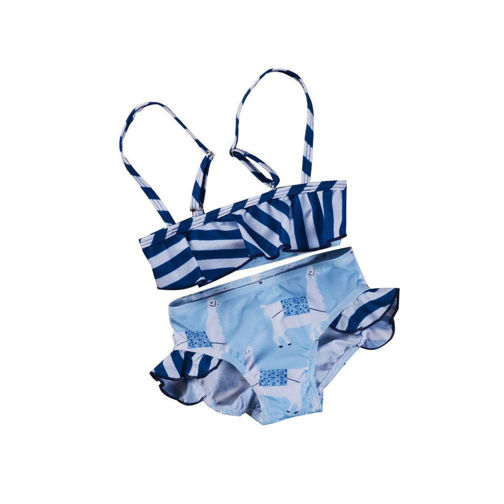 Baby Girls Beach Bikini Strappy Ruffle Striped Swinwear and Animal Print Shorts 2pcs Swimsuit (Blue, Recommended Age:6-12 Months)