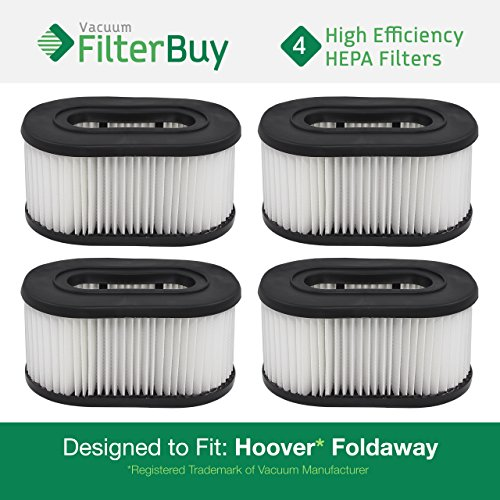 FilterBuy 4 Hoover Foldaway and WidePath Filters. Designed by to Replace Hoover Part # 40130050.