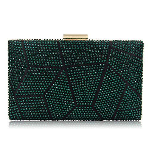 Green Clutch Purse - Women Clutches Crystal Evening Bags Clutch Purse Party Wedding Handbags (Green)