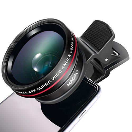 2 in 1 Clip-On HD Kameraobjektiv für Smartphone (0,45x Weitwinkelobjektiv, 12,5x Makroobjektiv), universell nutzbar, für for iPhone 77 Plus 6 6s 6s Plus 5 5s 4 SE Samsung S7 S6 S5 Smartphones