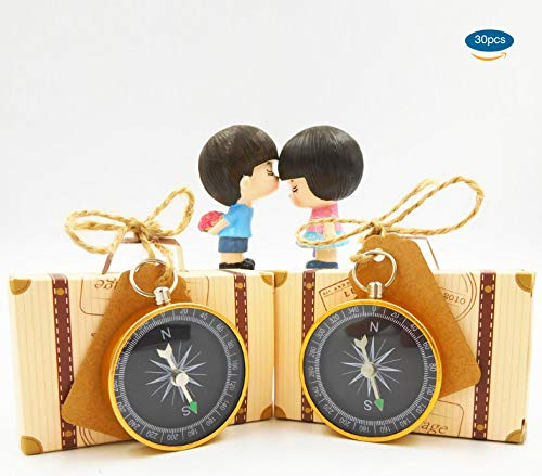 30pcs Compass Souvenir + 30pcs Suitcase Favor Boxes+ 30pcs Kraft Tags for Wedding Guests, Christmas Creative Vintage Party Favors Travel Themed Wedding Party Souvenirs for Guests
