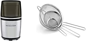 Cuisinart SG-10 Electric Spice-and-Nut Grinder, Stainless/Black & Set of 3 Fine Mesh Stainless Steel Strainers