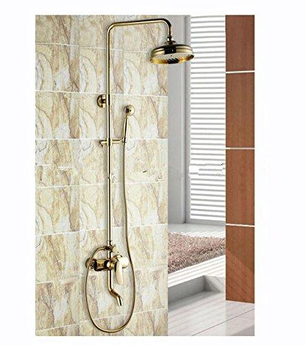 GOWE Luxury Brass Rainfall Shower Set, Gold Color Shower Bar, Wall Mounted Shower Column 0