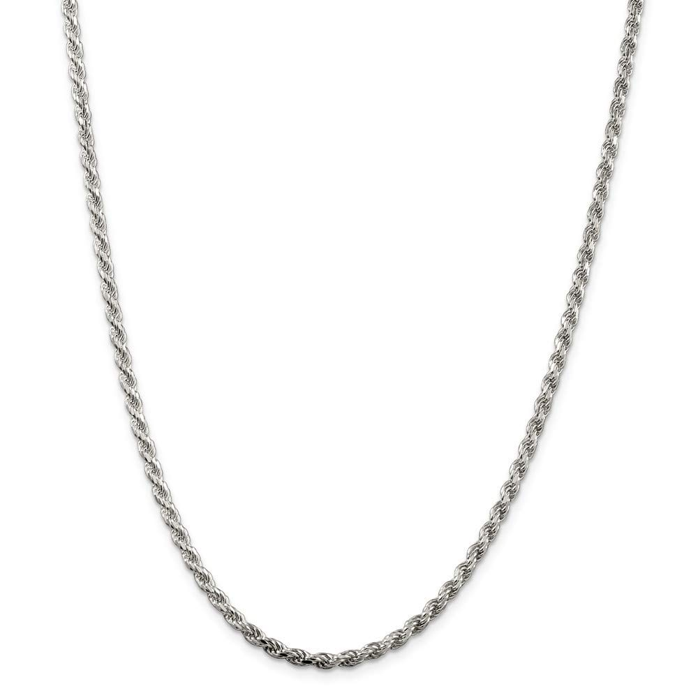 Lobster Claw 925 Sterling Silver Solid Polished Lobster Claw Closure 3mm Sparkle-Cut Rope Chain Anklet 9 Inch