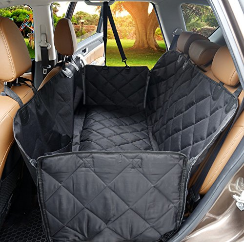 Dog Car Seat Cover, SCOPOW Scratch Proof Back Seat Cover Machine Washable Non-Slip Waterproof Travel Hammock with Side Flaps Universal Size for All Cars Truck SUV(Black)