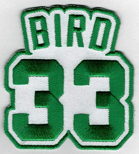 Larry Bird #33 Patch - Jersey Number Green/White Embroidered DIY Sew or Iron-On Patch USA Seller