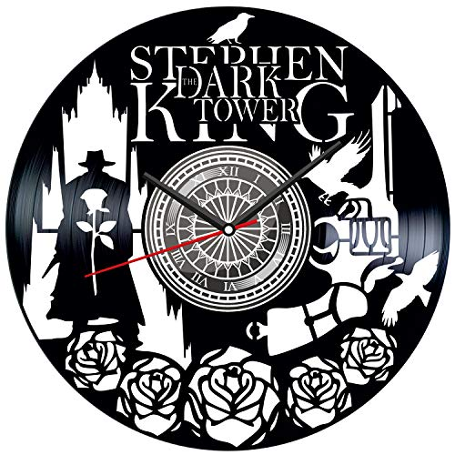 Dark Tower Black Vinyl Clock - Vintage Room Kitchen Bedroom Decor - Vinyl Record Gift Idea for Birthday Christmas Hanukkah - Unique Vintage Wall Art - Personalized Home Decoration - 12 Inch -