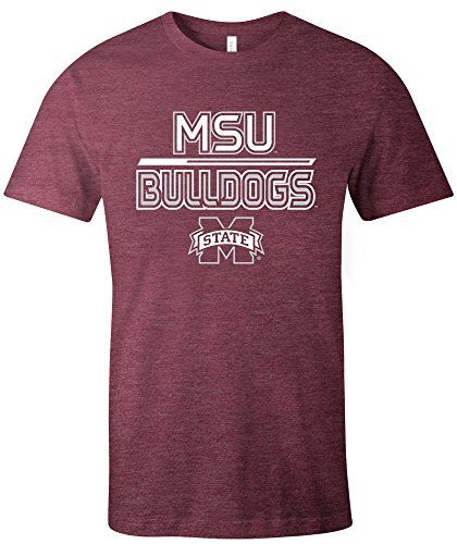 NCAA Mississippi State Bulldogs Adult NCAA Reverse Short sleeve Triblend T-Shirt,XL,Maroon
