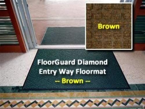 All Purpose Heavy Duty Entrance Mat – FloorGuard Diamond – 3 x 5 – Brown – Indoor or Covered Outdoor – Commercial or Residential