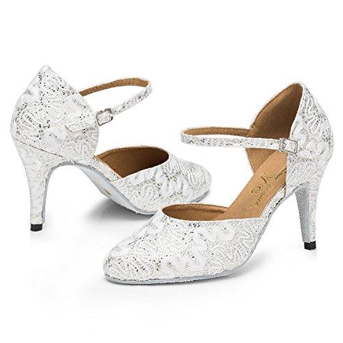 pompes Blanc Mary chaussures danse femme Satin Floral pour Minitoo à Jane Soirée Motif zUpHxI7