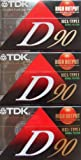 TDK D90 High Output 90 Minute IECI/Type I Cassette Tapes, Set of (3)